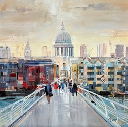 Bridge Stroll by Tom Butler - Original Collage on Board sized 24x24 inches. Available from Whitewall Galleries